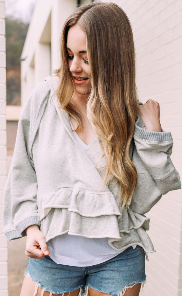 free people movement: side swept hoodie - grey