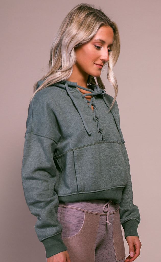 free people movement: believe it sweatshirt - secret moss