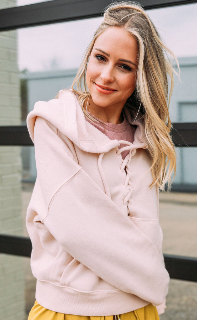 free people movement: believe it sweatshirt - blush