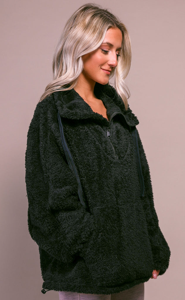 free people movement: big sky high neck pullover - black