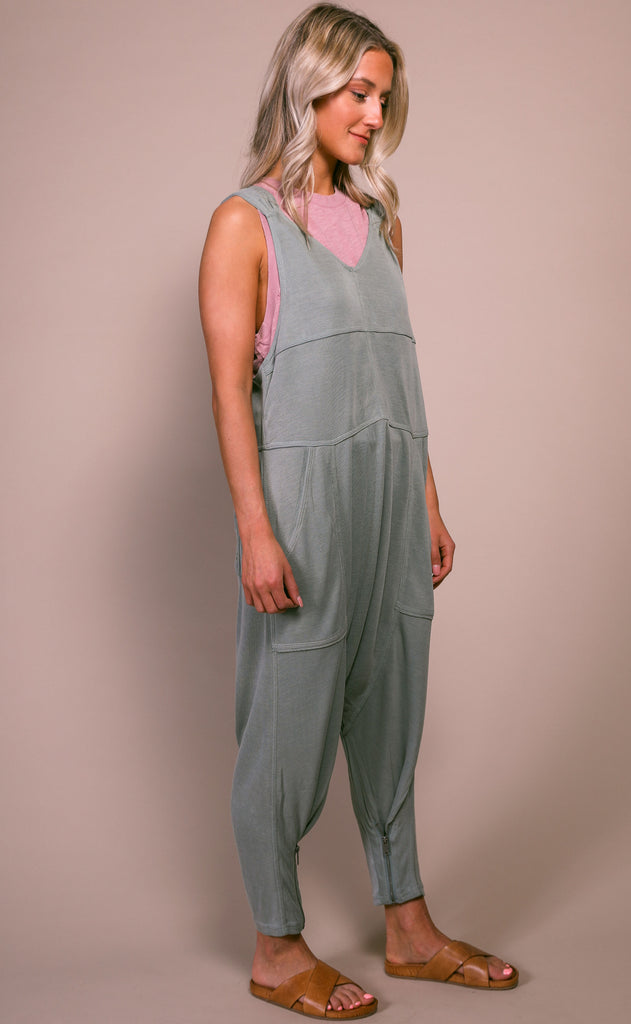 free people movement: high tide jumpsuit - olive