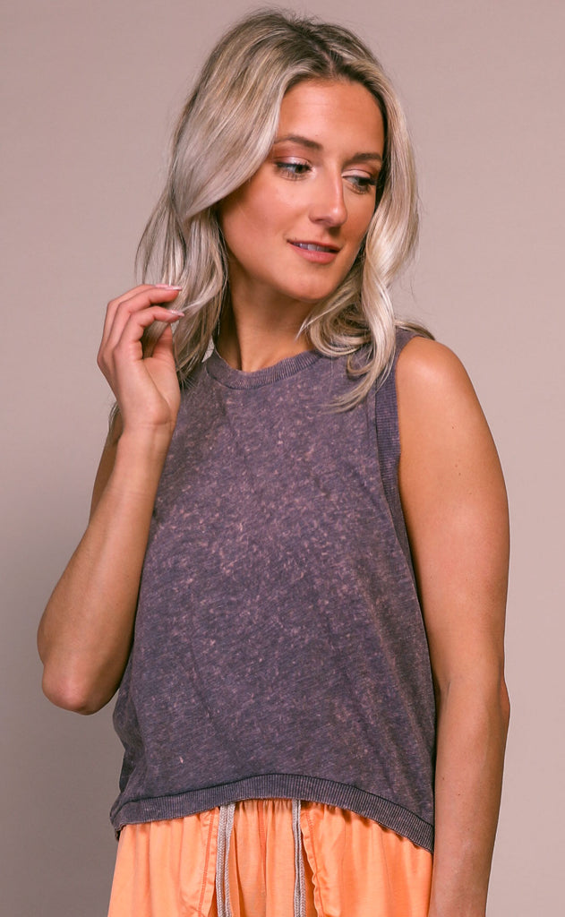 free people movement: love tank - washed dark gray