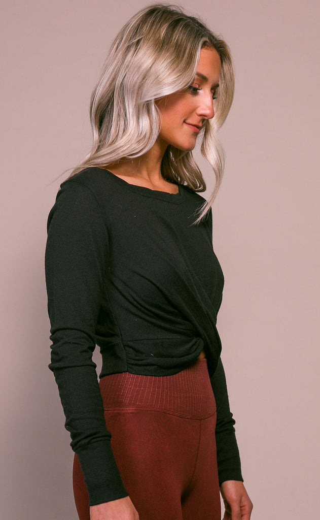 free people movement: undertow long sleeve tee - black