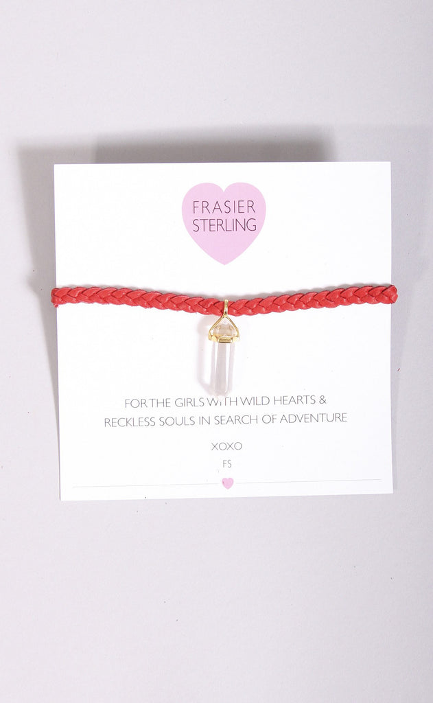 frasier sterling: mystic crystal choker - red with gold crystal