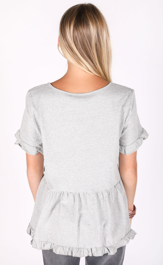 freshly picked babydoll top - grey
