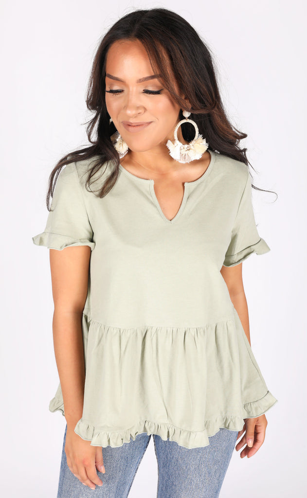 freshly picked babydoll top - sage