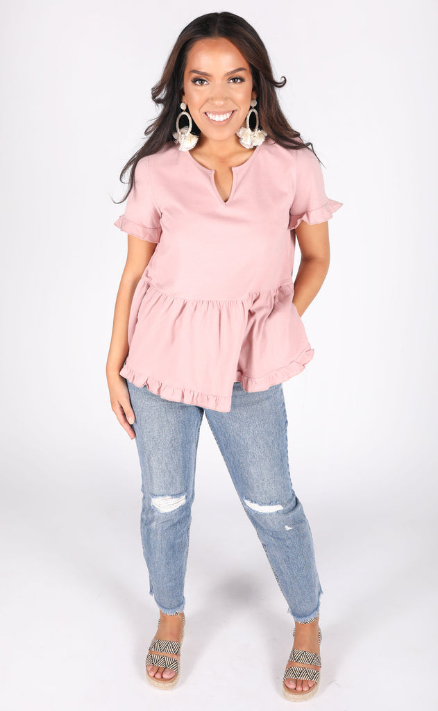 freshly picked babydoll top - blush