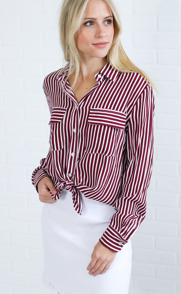 friday striped top - burgundy