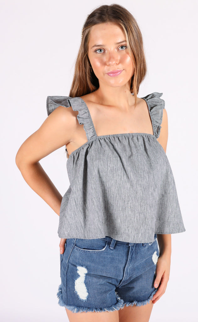 frill seeker ruffle top - charcoal
