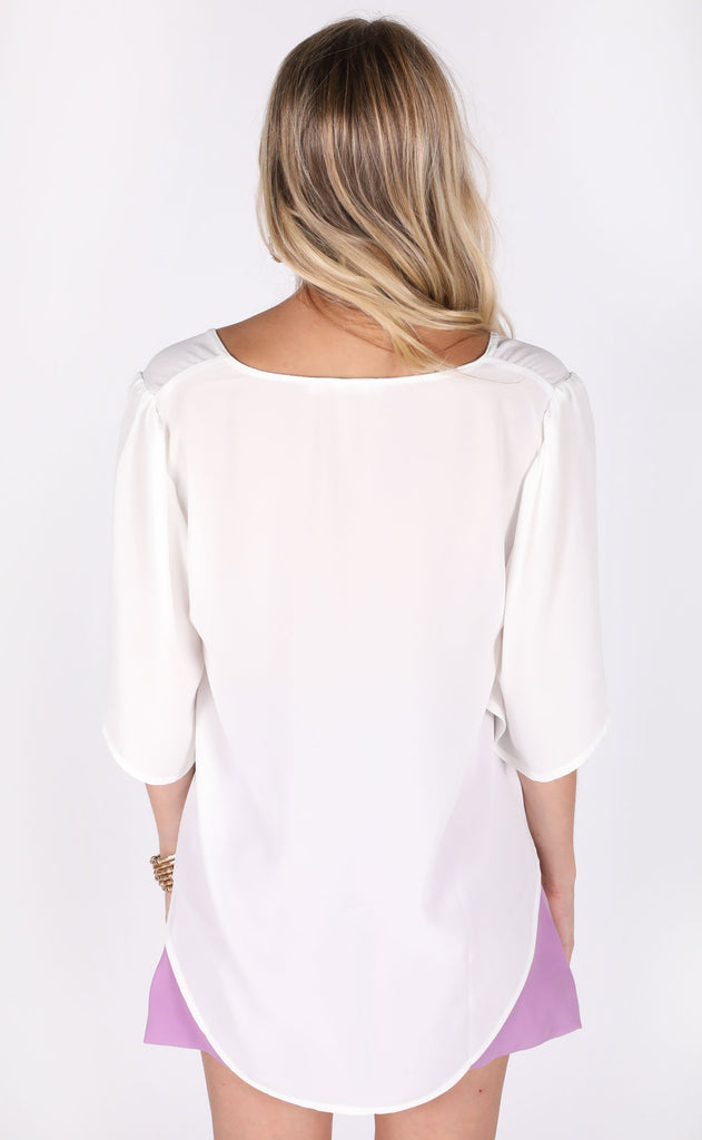 frilled to meet you basic top - ivory