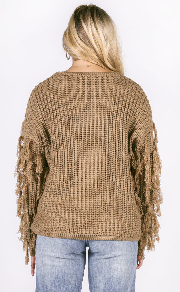fringe benefits knit sweater - taupe