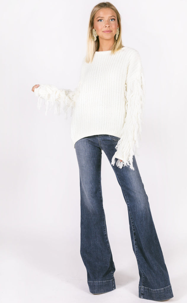 fringe benefits knit sweater - ivory