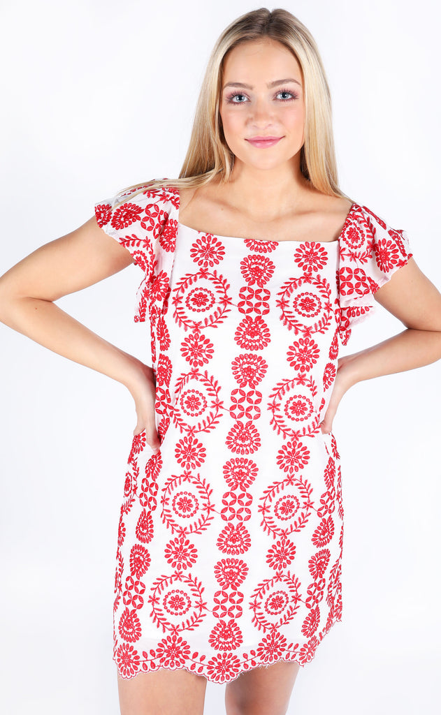 full bloom embroidered dress