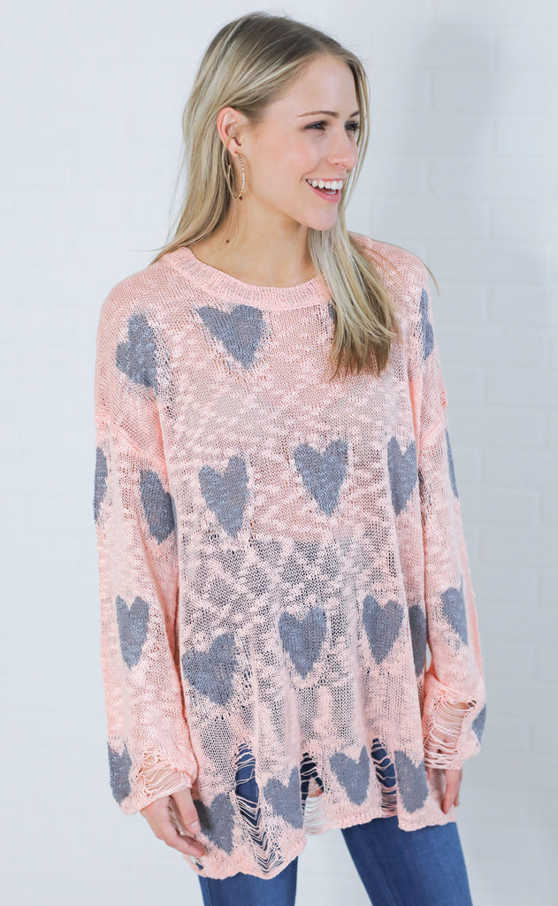 full hearts knit sweater - pink