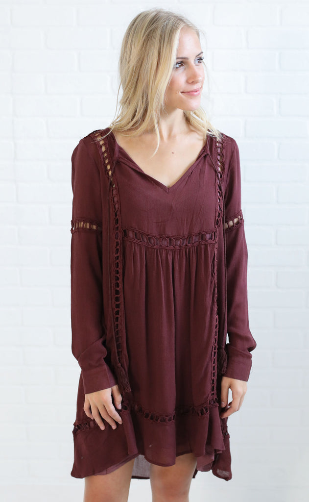 fun and games embroidered dress - plum
