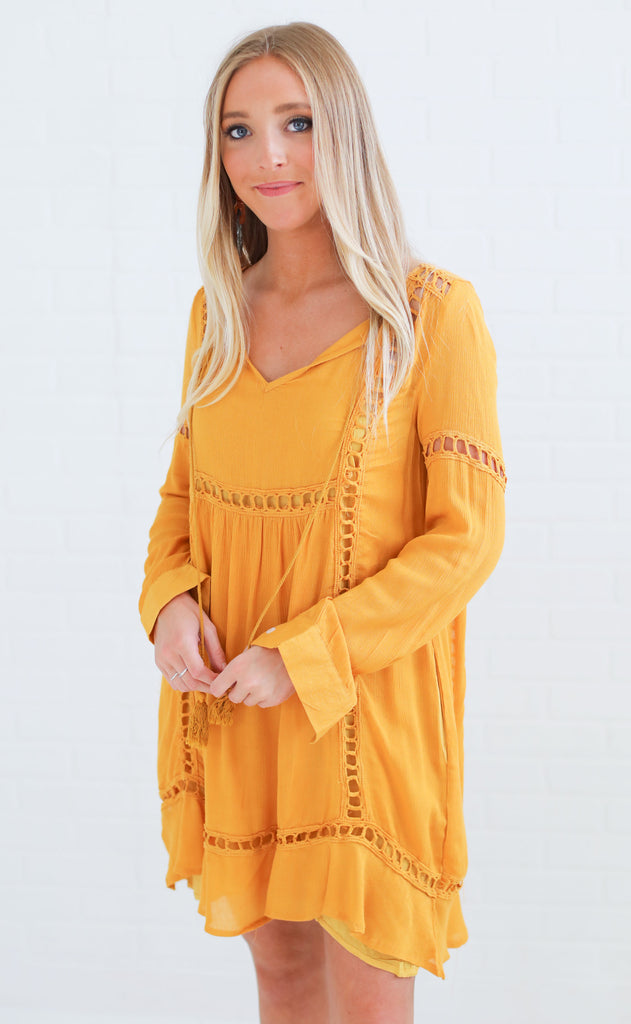 fun and games embroidered dress - mustard