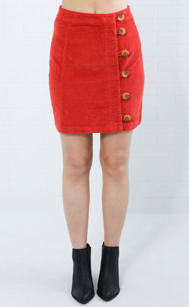 funky town corduroy skirt - red