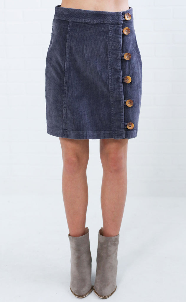 funky town corduroy skirt - charcoal