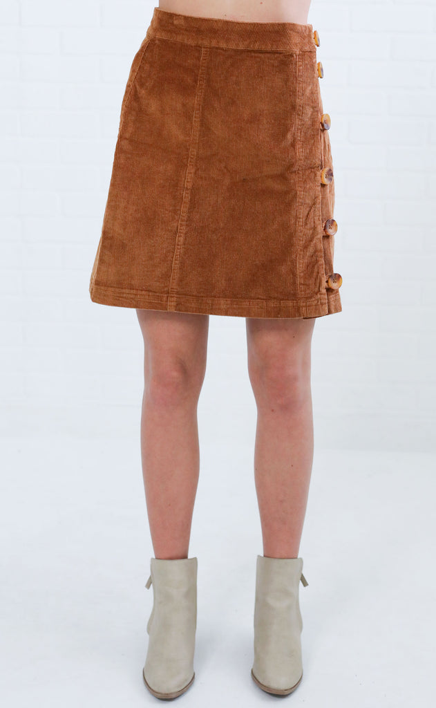 funky town corduroy skirt - camel