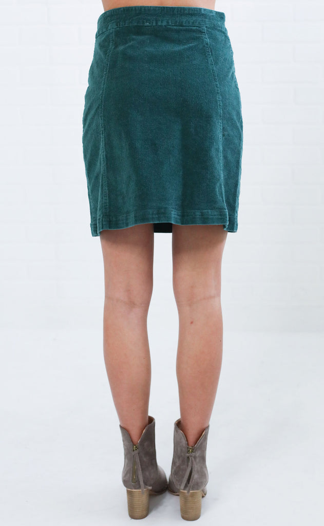 funky town corduroy skirt - hunter