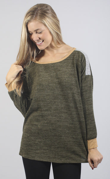 game time long sleeve top - olive