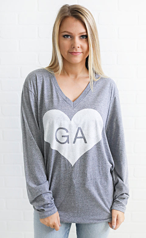 charlie southern: vintage heart long sleeve t shirt - georgia