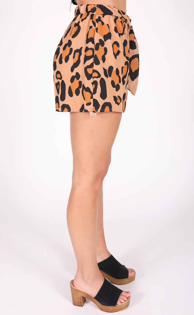 get wild printed shorts - tan