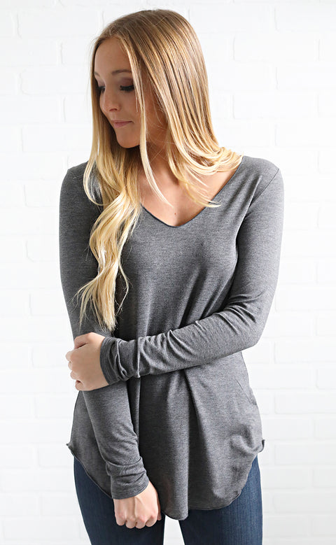 get along basic long sleeve top - charcoal