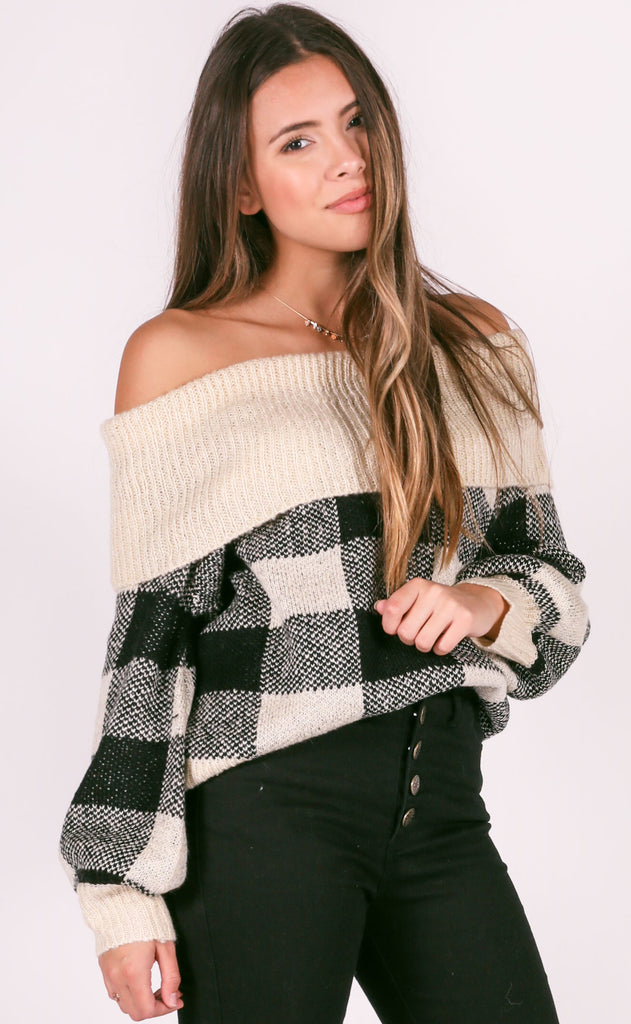 get in check off the shoulder sweater