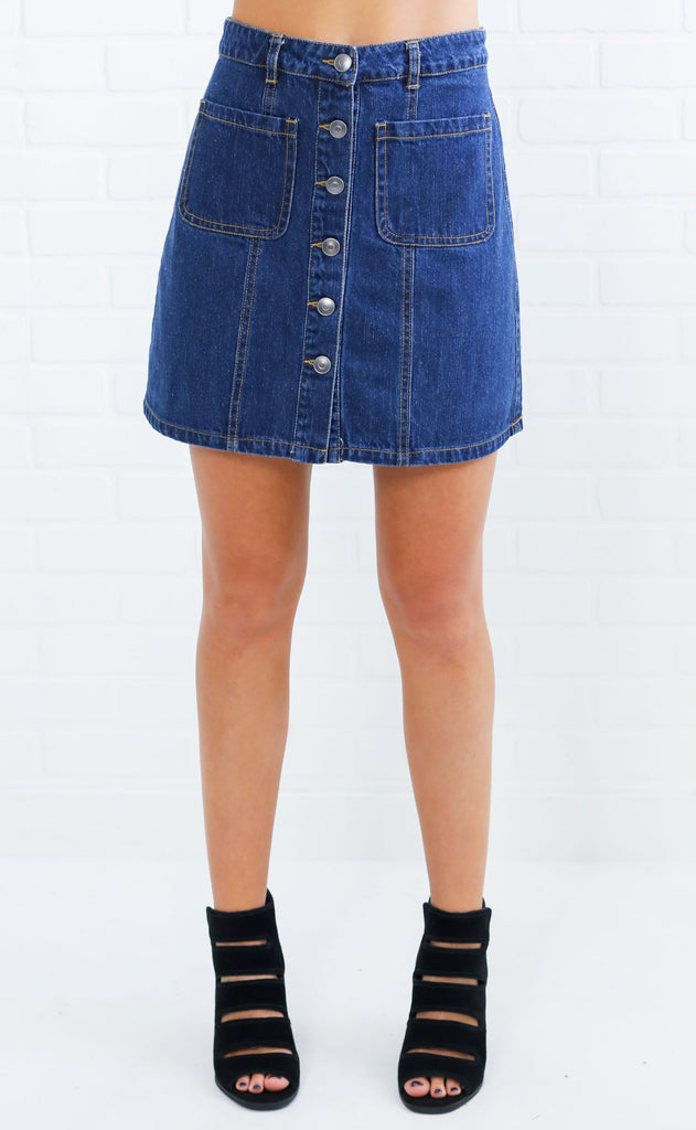 get it button up skirt - dark wash