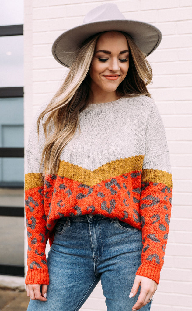 get warm oversized sweater - rust/mustard