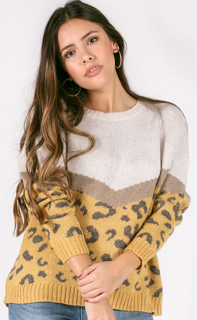 get warm oversized sweater - mustard/beige