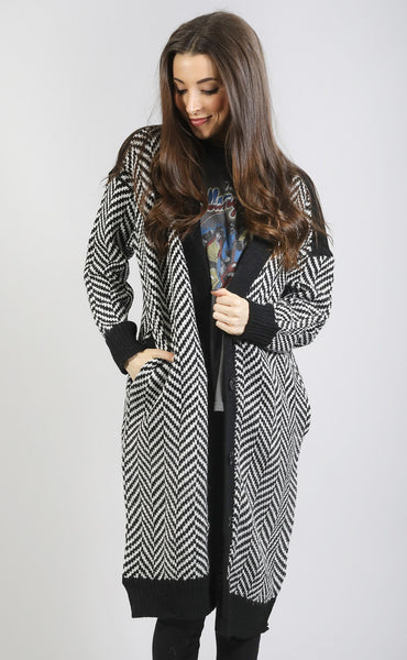 get ziggy with it oversized cardigan - black