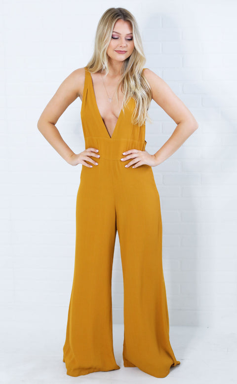 getting groovy v-neck jumpsuit