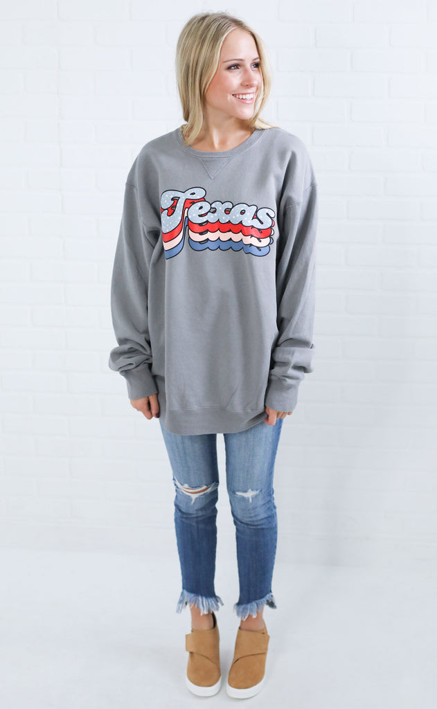 charlie southern: layered star state sweatshirt - texas