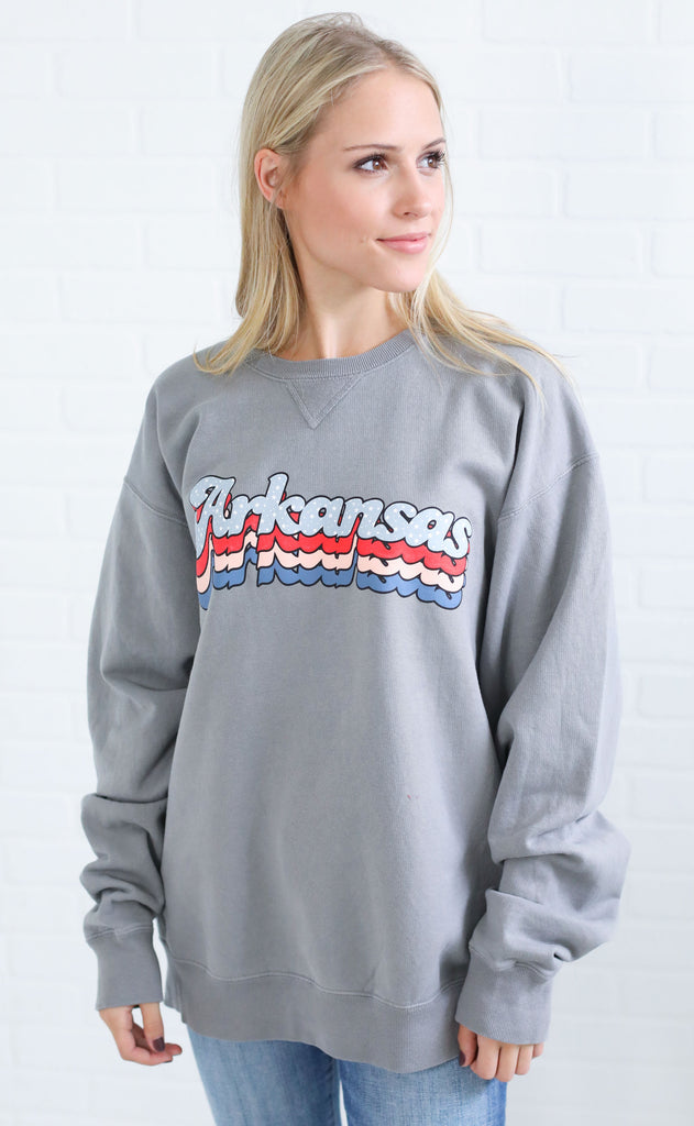 charlie southern: layered star state sweatshirt - arkansas