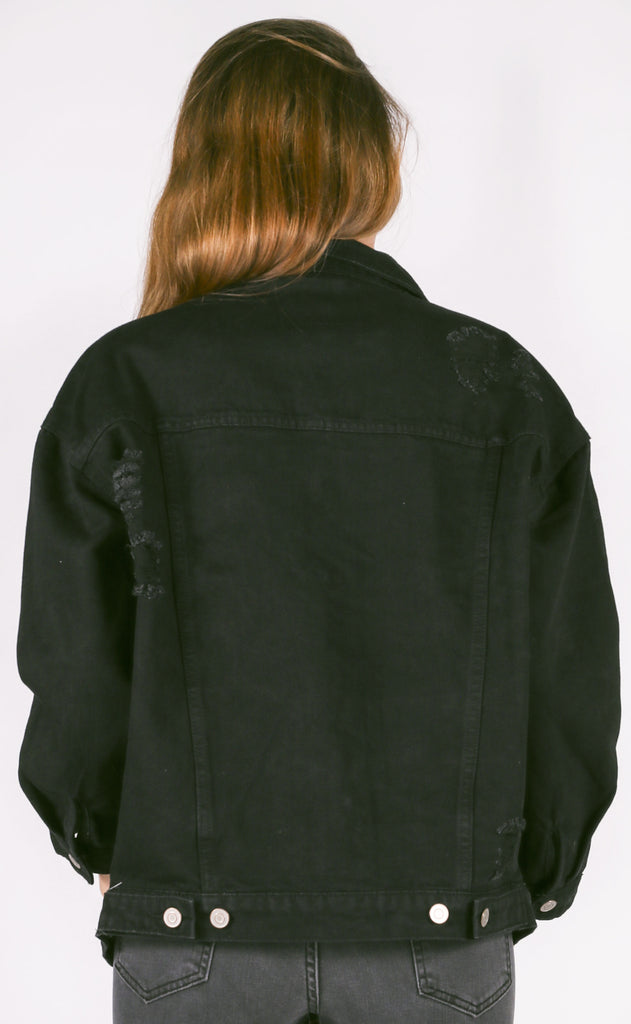 girlfriend denim jacket - black