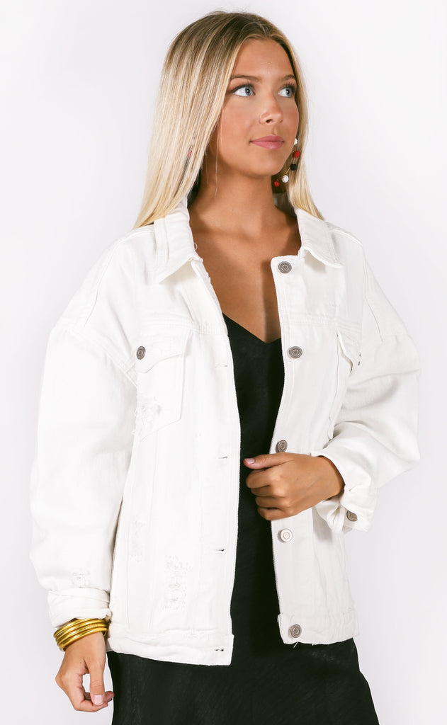 girlfriend denim jacket - ivory
