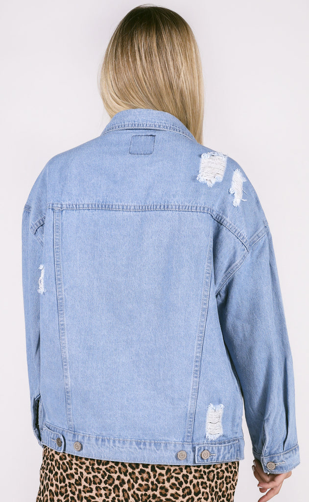 girlfriend denim jacket - light blue