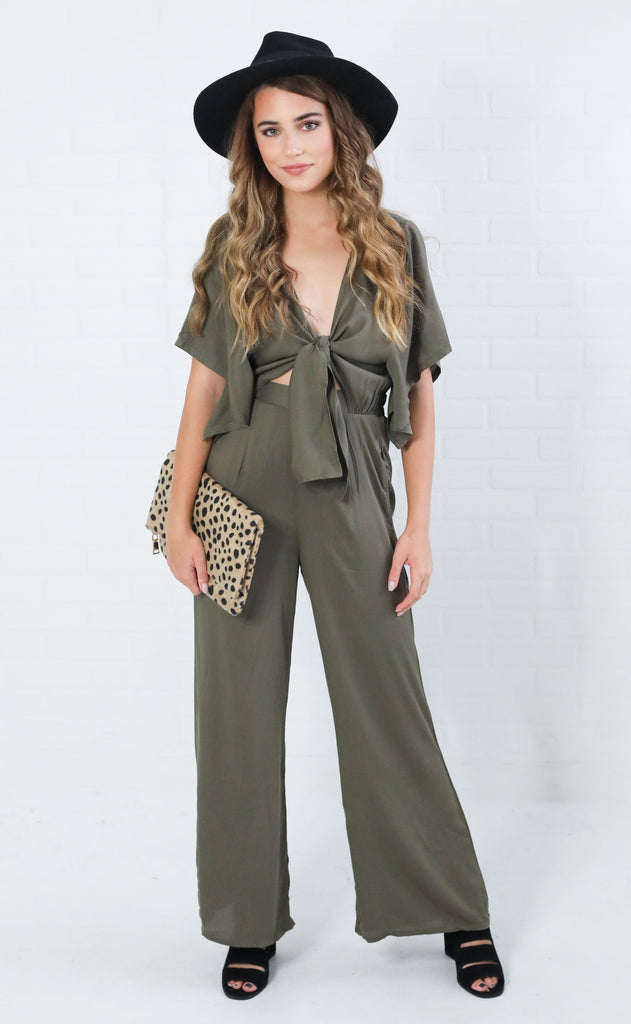 girls weekend tie front jumpsuit - olive