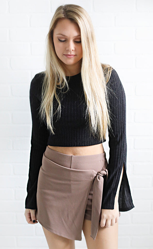 go for it crop top - black