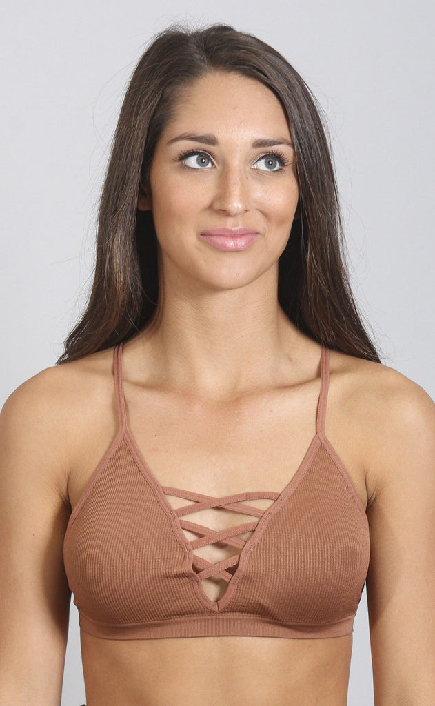 go figure lace up bralette - copper
