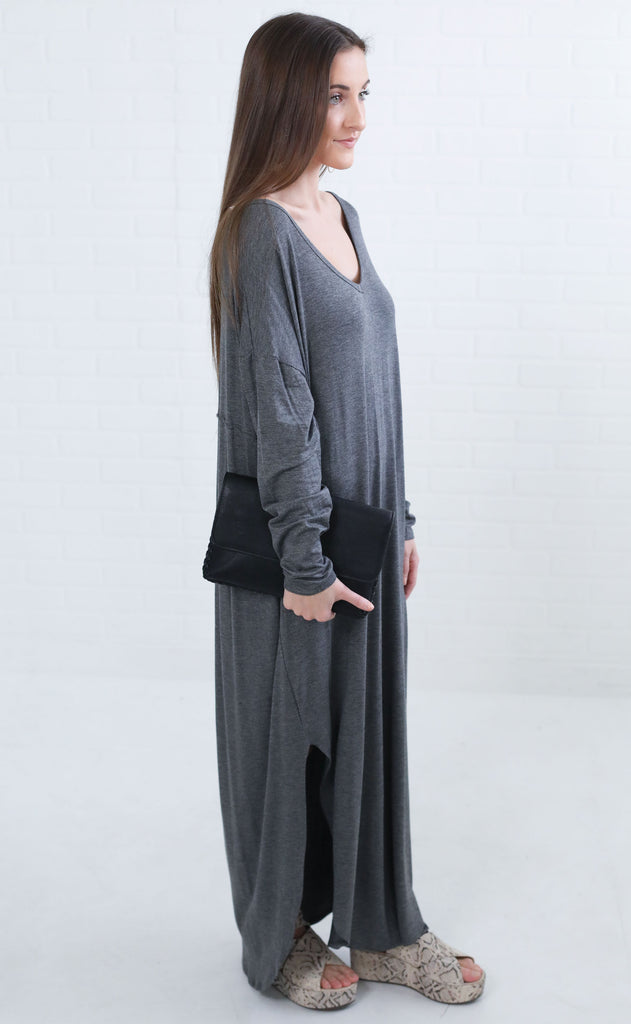 going steady maxi dress - charcoal