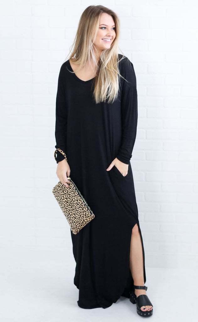 going steady maxi dress - black
