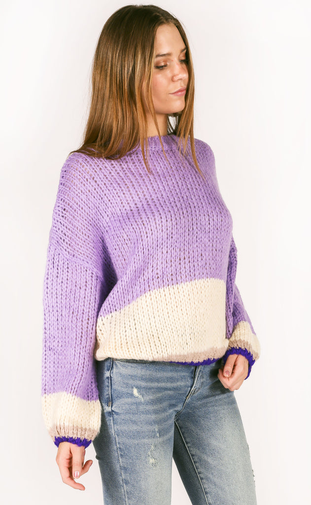 going west striped sweater - lavender