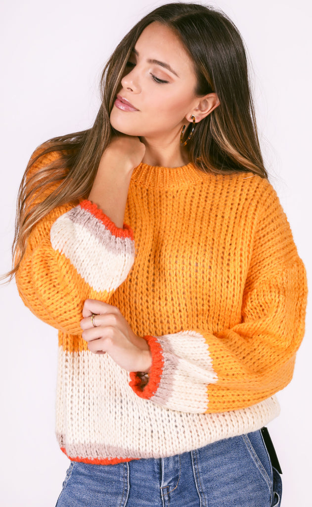 going west striped sweater - mustard