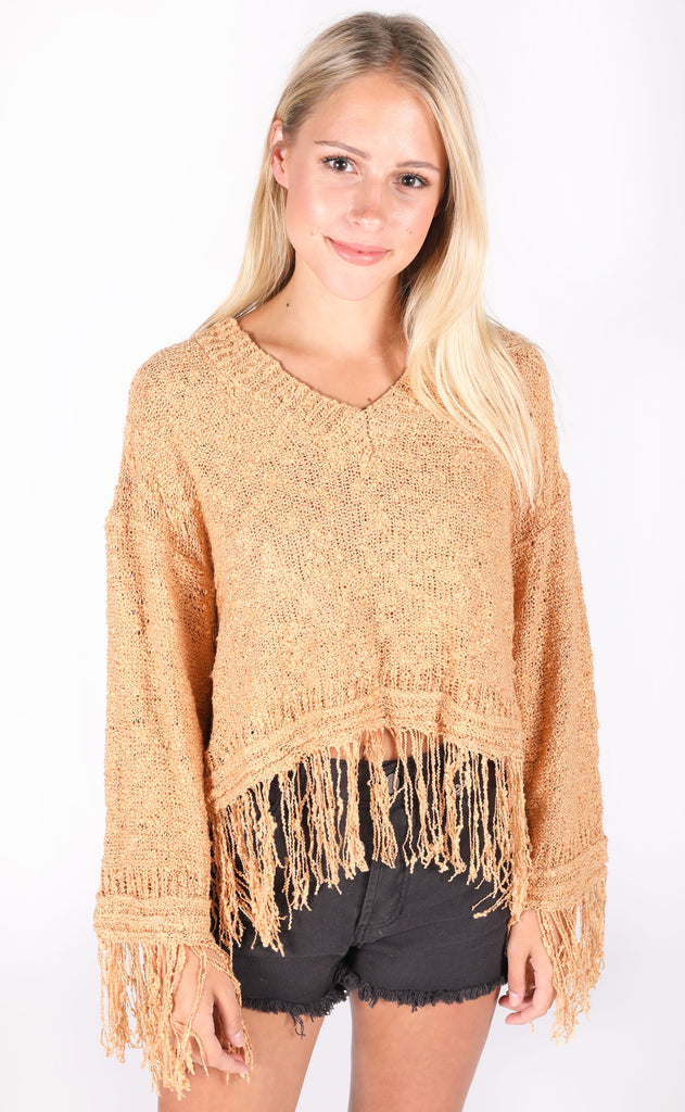 golden girl fringe sweater