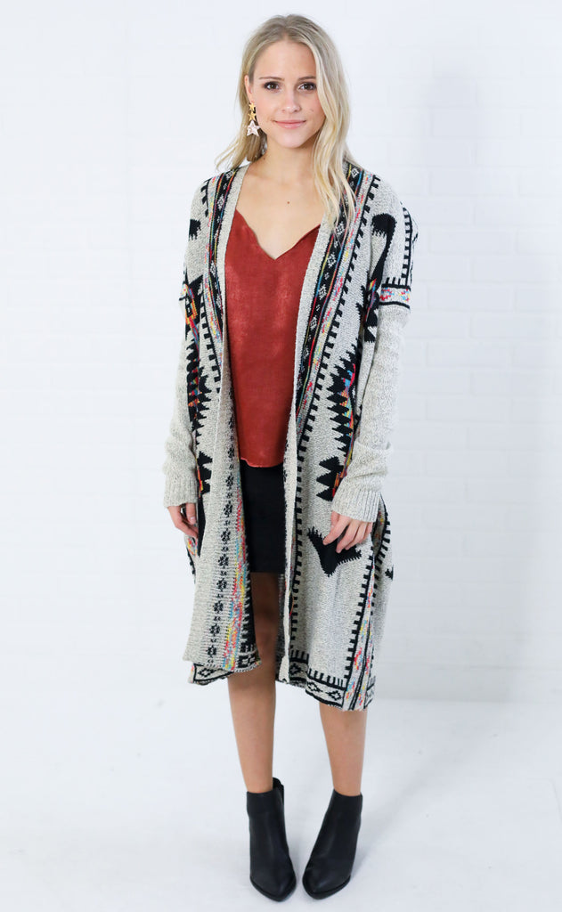 gone west poncho cardigan - taupe