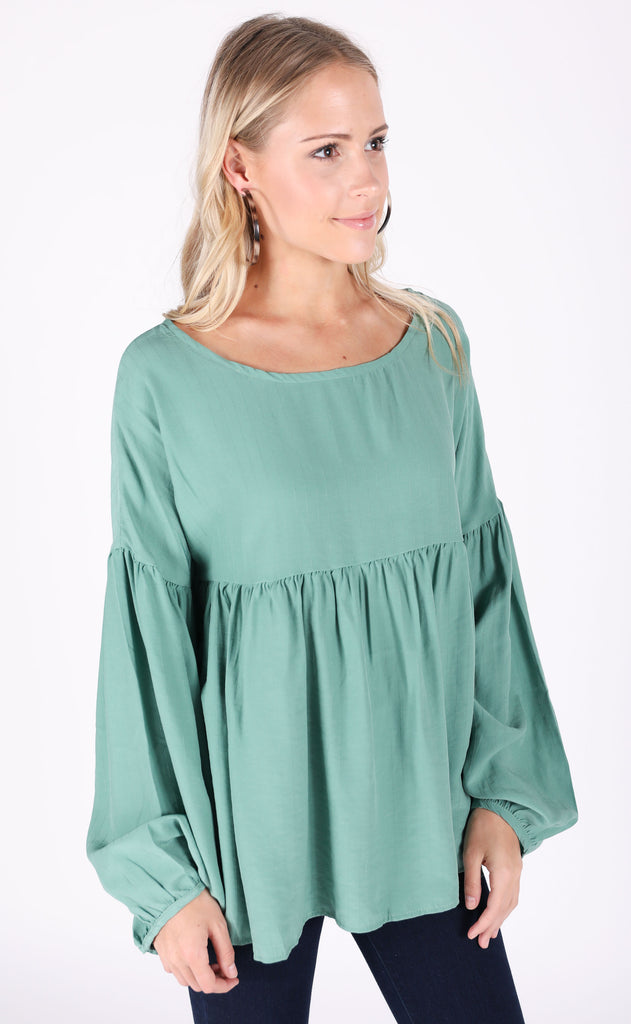 good day babydoll top - mint green