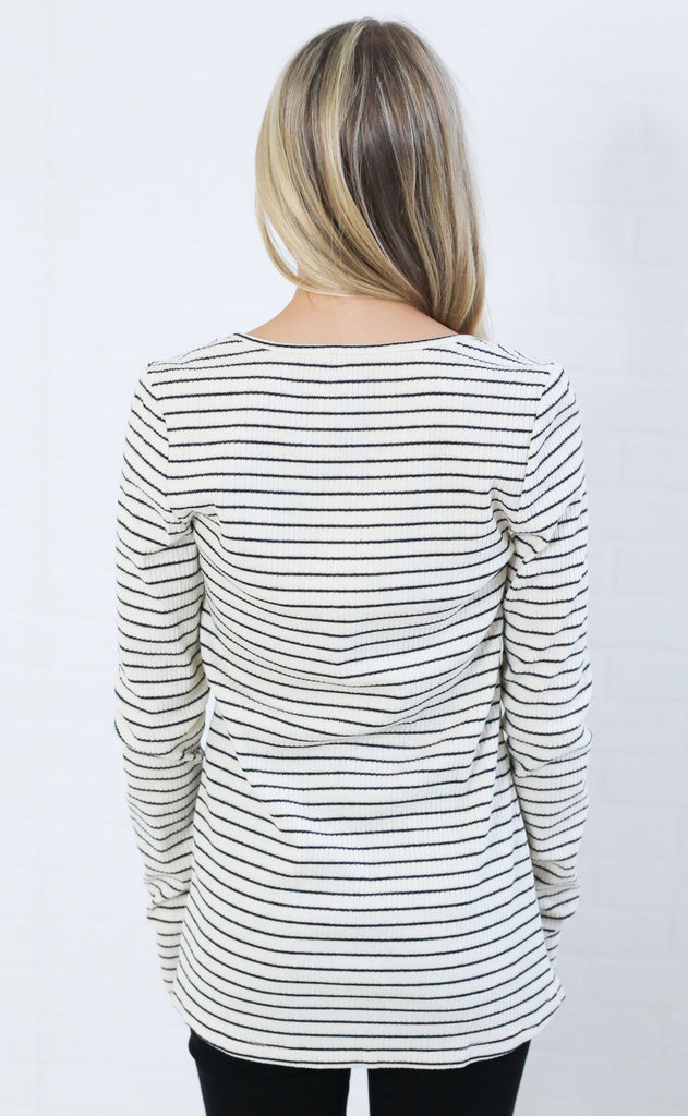 good stripe button up henley - ivory